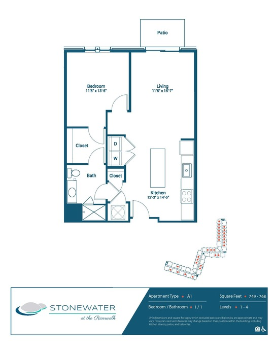 1 Bed / 1 Bath - A1 Floor Plan Image