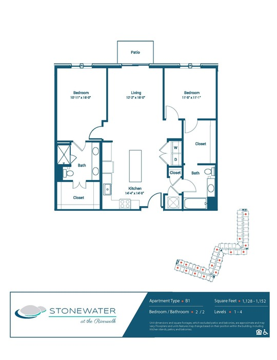 2 Bed / 2 Bath - B1 Floor Plan Image