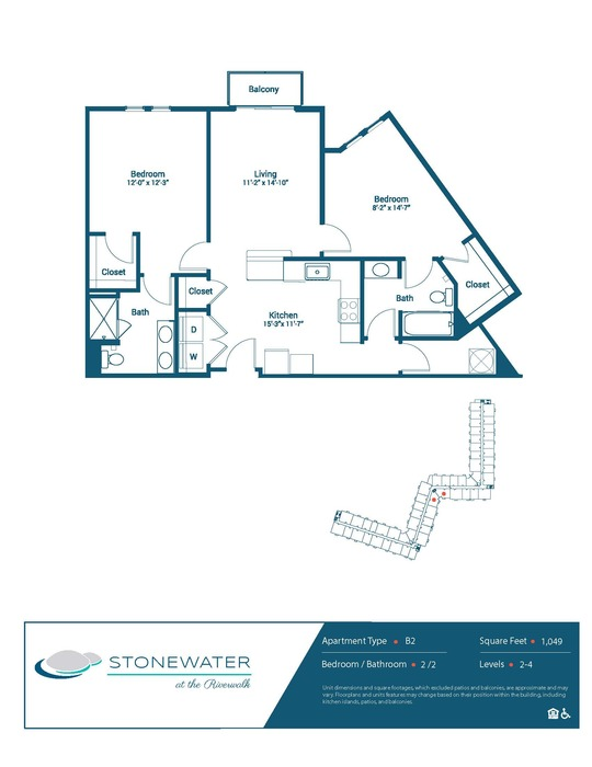 2 Bed / 2 Bath - B2 Floor Plan Image